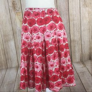 Ann Taylor Lined Red Floral Circle Skirt Size 6